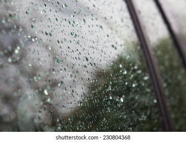 Rain drops on a Car window