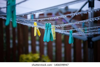 Rain drops on a clothes line