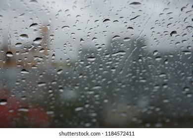 Rain drops on the glass