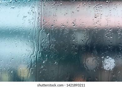 Rain drops on a glass window