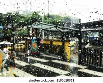 rain drops on glass,outside background