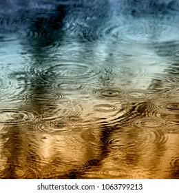 Rain drops on the lake.