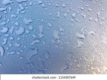 rain drops on a metal surface