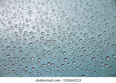Rain drops on window glass , rainy day