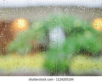 Rain drops on window glass