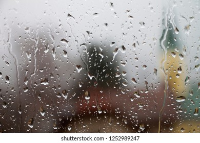 Rain drops on window glass