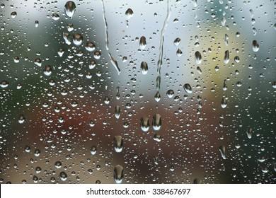Rain drops on window , rainy day