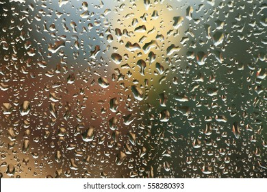 Rain drops on window , rainy day