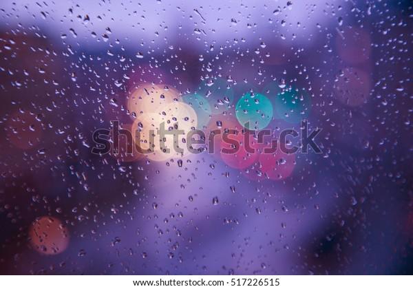 Rain Drops On Window Street Bokeh Stock Photo Edit Now