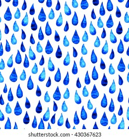Rain drops seamless pattern. Watercolor water drops beautiful pattern on white background. Watercolor  hand-drawn illustration. Cute elements for your design, textile, fabric, banner, card.