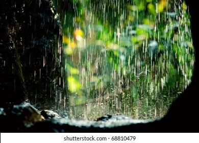 Rain drops in sunlight, natural background