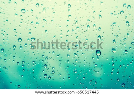 Rain Drops Water Background Of Green Wallpaper On Rainy Day Outside Window Glass Blurred