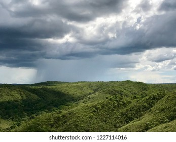 Rain during the afternoon in valley region and mountains in the Brazilian biome Cerrado