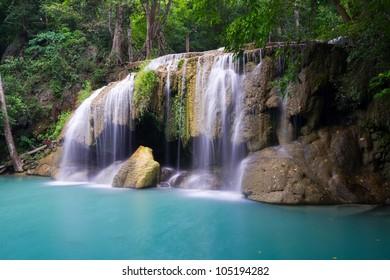 Rain forest waterfall  - Erawan Waterfall in Thailand