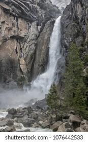 Rain heavy Yosemite Falls, California