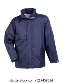 rain jacket blue isolated on white