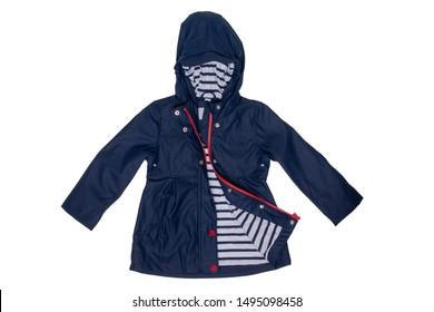 Rain jacket. Close-up of elegant waterproof marine blue zipper windbreaker jacket and hood for girls isolated on a white background. Kids fashion for rain season.