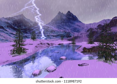 Rain and lightning in the river, 3d rendering,  a winter landscape, snowy mountains and coniferous trees.