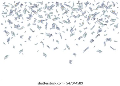 Rain from many falling dollars isolated on white background, finance concept