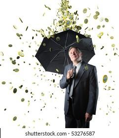 rain money on confident businessman isolated on white background