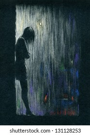 Rain in the night. Silhouette of a woman standing in the rain. Color pastels on black textured paper.