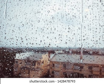 Rain on Mirror with city landscape Sad Sorrow Bad day Depression