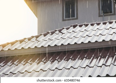 Rain on the roof with sunlight