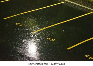 Rain on an Urban Parking Lot  at Night under Street Light
