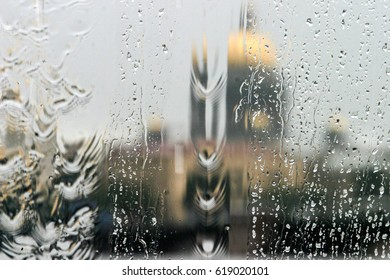 The rain outside the window in Saint-Petersburg on the square of St. Isaac's Cathedral.
