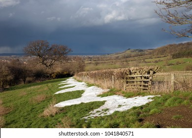 Rain over Cotswold landscape, Mickleton, Chipping Campden, Gloucestershire, England.
