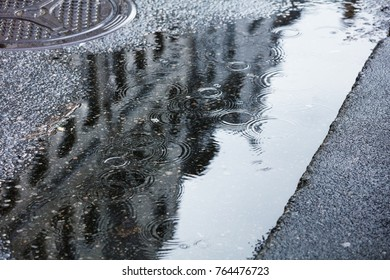 rain puddles on the pavement in the city