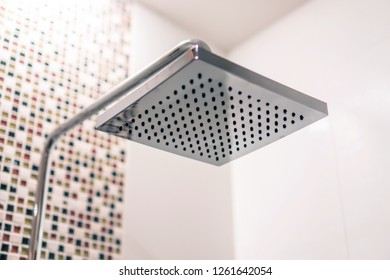 Rain Shower Head close-up, Square Chrome Luxury Fixture