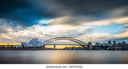 Rain showers pass by Sydney Harbour, NSW, Australia