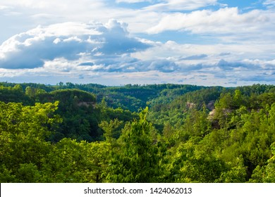 Rain and storm clouds dispers over Red River Gorge in Kentucky, United States.