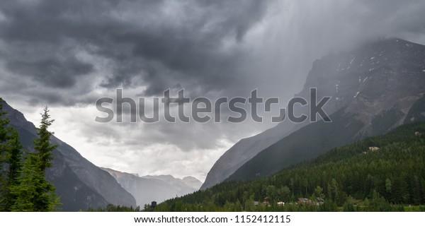 Rain storm passes through the mountains