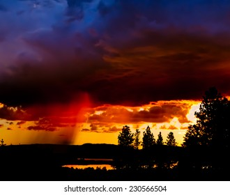 rain at sunset Montana