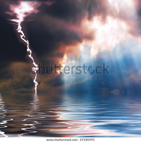 Rain, sunshine and lightning