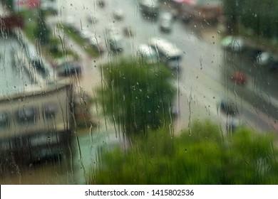 Rain and through the rain drops see the city
