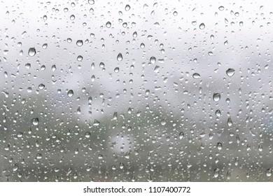 Rain water drop in blue