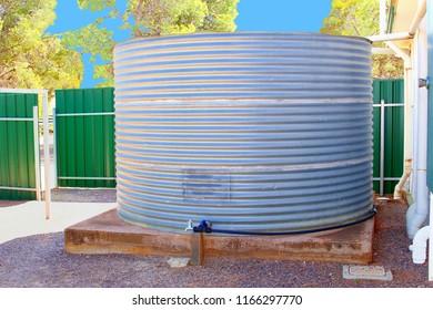 Rain water storage tank and drinking water tap, Australia