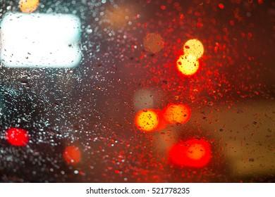 Rain windows and blurred lights