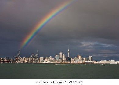 Rainbow above Auckland city in New Zealand