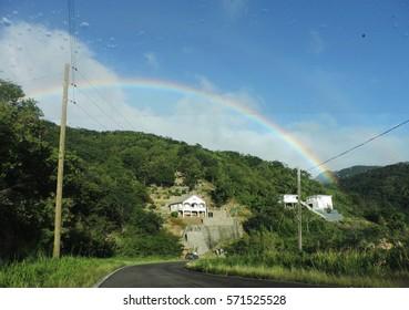 Rainbow above the Caribbean island of Dominica