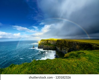 Rainbow above Cliffs of Moher. Ireland.
