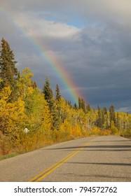 Rainbow above highway