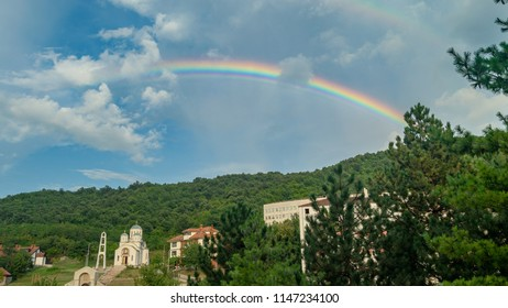 Rainbow above a hill