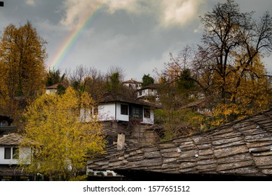 A rainbow above old house in Bojenci village