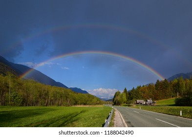 Rainbow above the road
