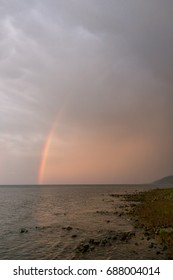 Rainbow after heavy rain in the southern tip of lake Baikal