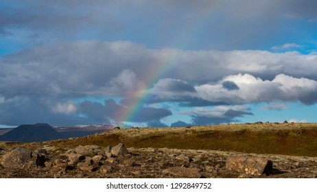 Rainbow after the rain at Thingvelir National Park in South Iceland.